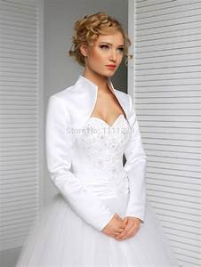 New bridal satin jacket wrap wedding shrug long sleeve for Wedding dress boleros and shrugs