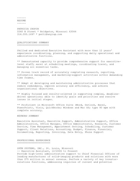 executive assistant ascii sle resume and cover letter