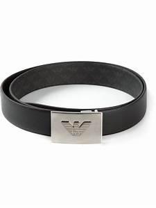 Lyst - Emporio Armani Logo Buckle Belt in Black for Men