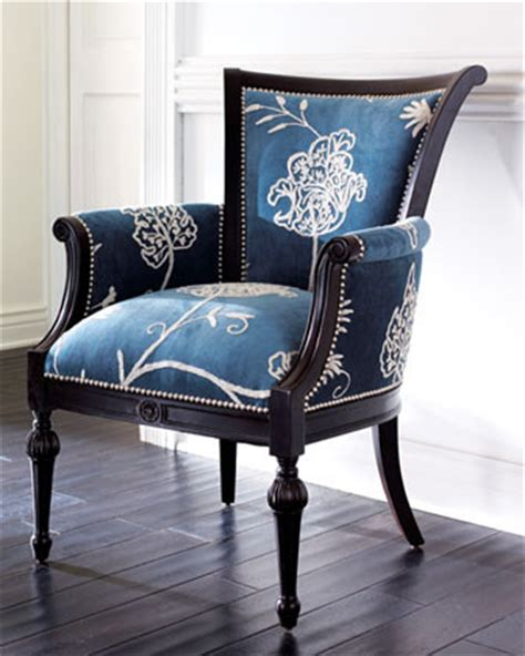 crewel blue chair traditional armchairs and accent
