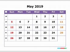 May 2019 Printable Calendar with Week Numbers for Free