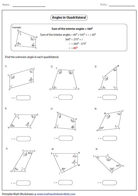 missing angle quadrilaterals math pinterest math and anchor charts
