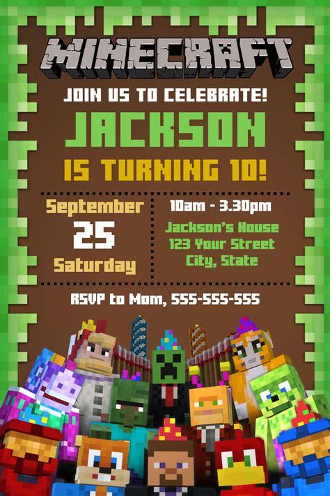 editable minecraft invitation  invitation maker