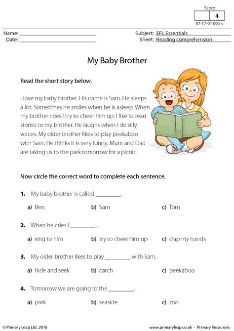 esl reading comprehension  baby brother