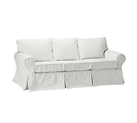 pb basic sleeper sofa slipcover denim warm white