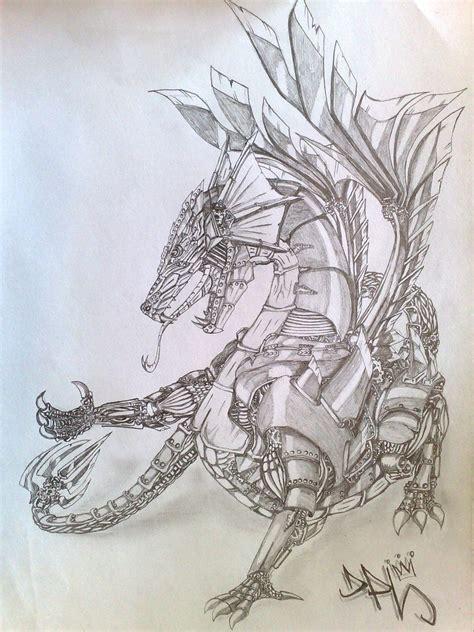 bionic dragon bleistiftzeichnung drache zeichnungen