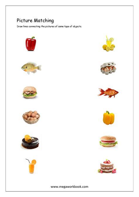 matching food worksheet  kindergarten preschool