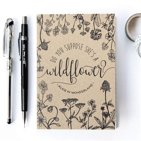 alice  wonderland wildflower notebook  chatty nora