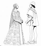 Renaissance Coloring Pages Clothing Drawing History sketch template