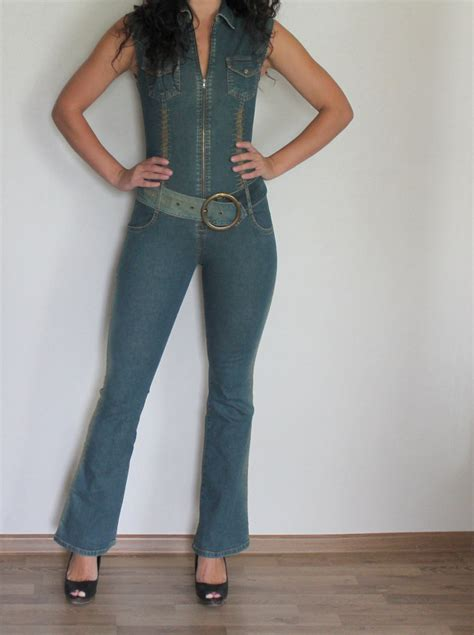 one jumpsuit womens denim jumpsuit one romper blue jean fitted