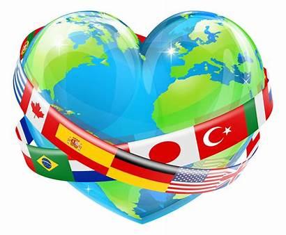 Heart Earth Flags Globe Flag Shaped Illustration