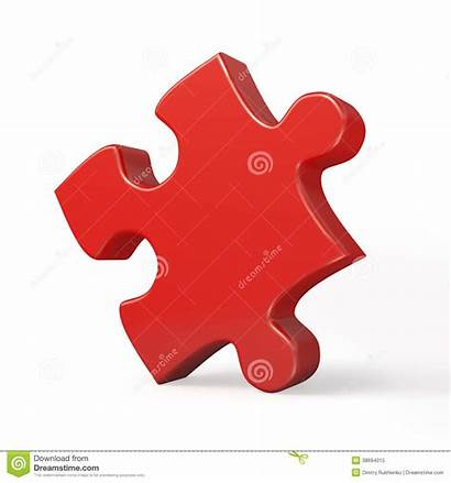 Puzzle Pezzo Rosso Singolo Piece Single Isolato