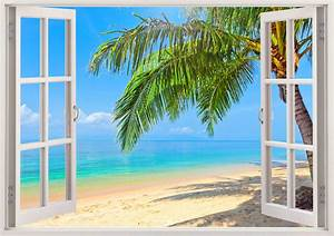 Palm tree beach wall decals 3d window tropical beach wall for Beautiful beach decals for walls