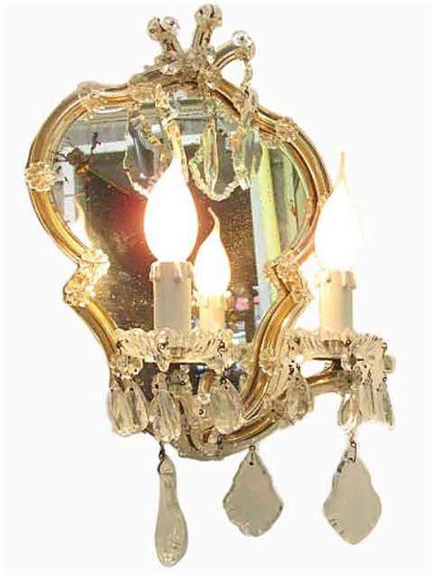 applique cristallo coppia appliques antiche in cristallo con specchio