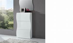 Petit Meuble A Chaussure : meuble chaussures blanc laqu design swell ~ Premium-room.com Idées de Décoration