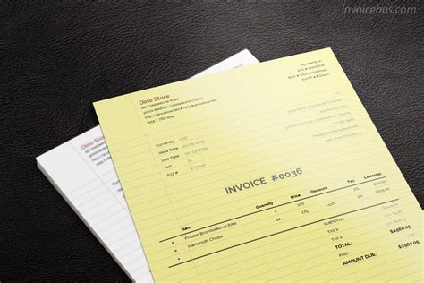 paperlike invoice template lily