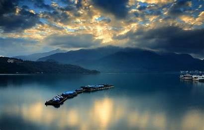 Ferry Clouds Dawn Mountains Boats Bay Telegram