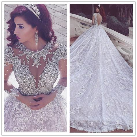 discount  luxury  mhamad wedding dresses lace long