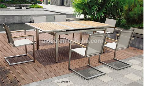 stainless steel outdoor furniture teak wood table and mesh