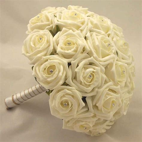bridal bouquets ivory open rose diamante bridal posy