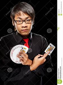 Asian Magician With Cards Royalty Free Stock Image - Image ...