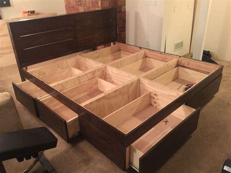 platform bed  drawers bed frame  drawers diy