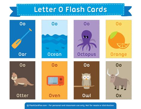 Printable Letter O Flash Cards
