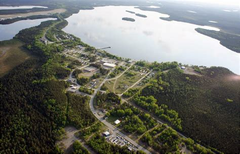 lake pickle ontario canada aerial northern road travel wilderness begins ends where
