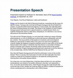 sample presentation speech example template 7 free With presenting an award speech template