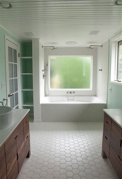White Hexagon Bathroom Floor Tile Ideas  Pictures