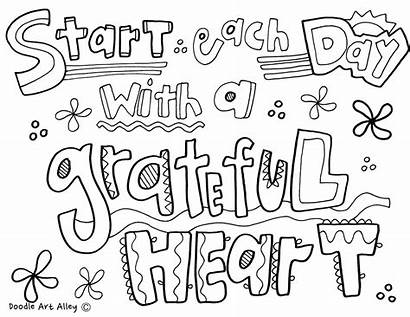 Coloring Doodle Thankful Quotes Gratitude Alley Grateful