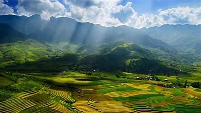 Vietnam Scenery Yen Bai Province Fields Valley
