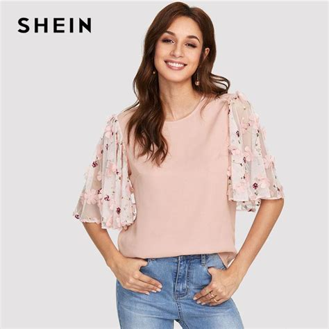 Sleeve Applique Top pink flower applique mesh sleeve top neck