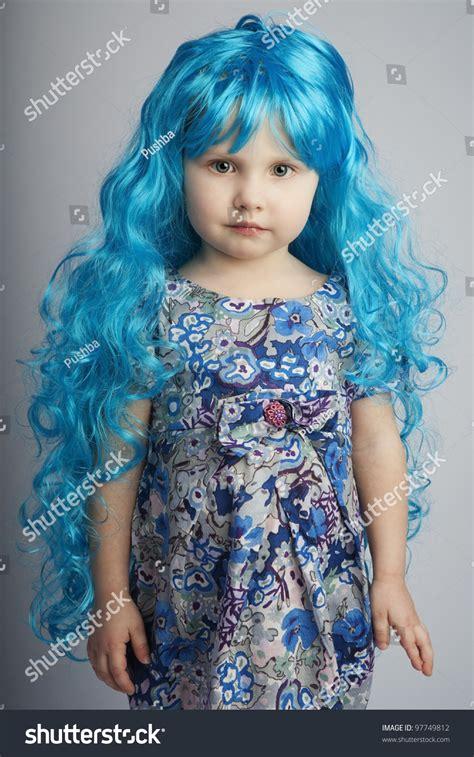 Pretty Little Girl Long Blue Hair Stock Photo 97749812