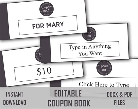 Editable Love Coupon, Love Coupon Book, Editable Coupon