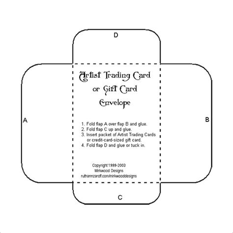 gift card envelope templates  printable word