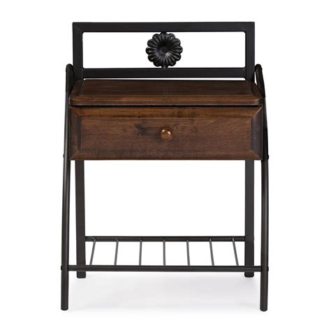 Metal Nightstand baxton studio jevenci vintage industrial black finished