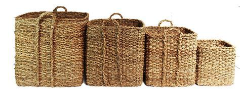 Giant Seagrass Baskets   Square 4pcs