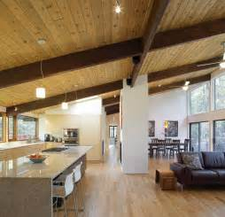 interior home renovations open plan kitchen living dining space deck house renovation in chapel hill carolina