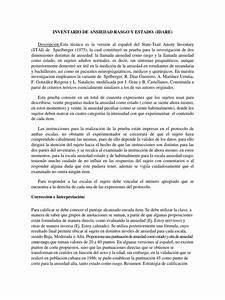 Test Idare-inventario De Ansiedad Rasgo Y Estado