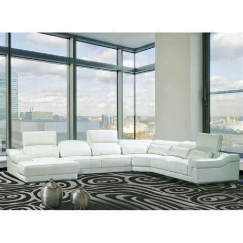 canape blanc angle canapé d 39 angle droit panoramique cuir blanc achat vente