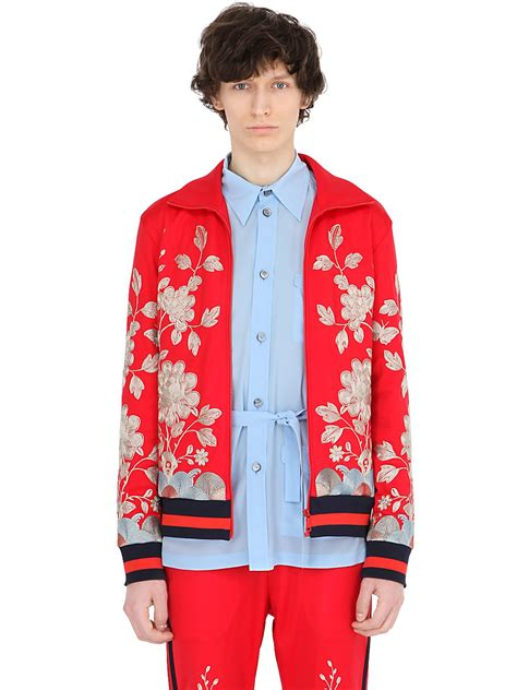 gucci floral embroidered techno jersey jacket  men lyst
