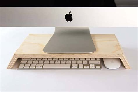 handmade minimal wooden monitor stand gadgetsin