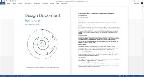 Interface Design Document Template by Design Document Ms Word Template
