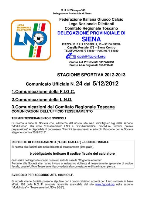 Ufficio Tesseramenti Figc by Comunicato Ufficiale Figc 24 Siena By Commercializzando
