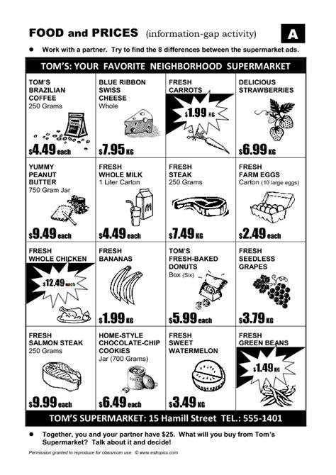 Supermarket Ad Informationgap Activity