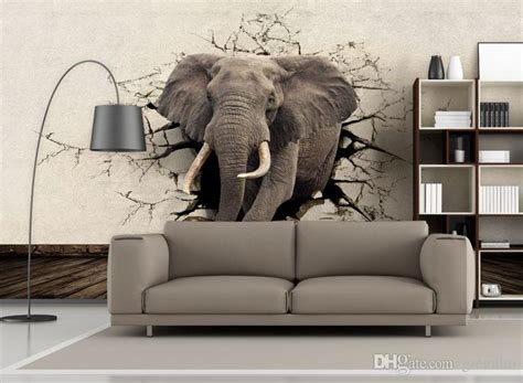 Home Interior Animal Pictures : Custom 3d Elephant Wall Mural Personalized Giant Photo