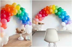 decoration en ballons gonflables originale 10 idees de brico With mariage de couleur avec le bleu 9 tables en fete une decoration danniversaire rainbow arc
