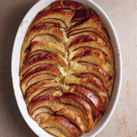 pear  chocolate brioche bread pudding