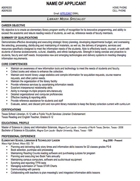 Librarian Resume Sle by Librarian Resume 11 Search Cover Letter For Resume
